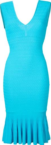 V Neck Fitted Dress Women Polyesterviscose S, Blue