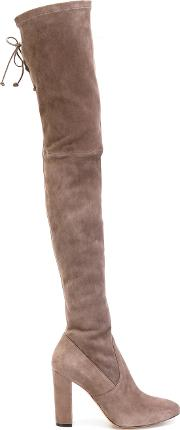 Jean Michel Cazabat Karmina Thigh High Boots Women Leathergoat Suede  Nudeneutrals