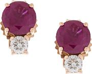 18kt Gold Diamond And Ruby Stud Earrings