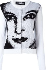 Face Print Cardigan Women Cotton 40, White