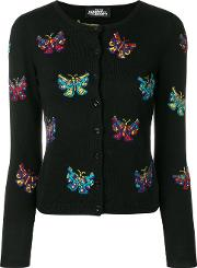 Jeremy Scott Butterfly Intarsia Cardigan Women Virgin Wool 46, Black