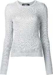 Metallic Ribbed Jumper Women Polyesterrayon 42, Grey