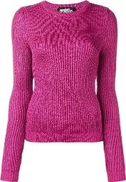 Ribbed Crew Neck Jumper Women Polyesterrayon 40, Women's, Pinkpurple
