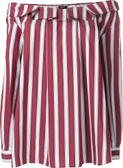 Jil Sander Navy Striped Off Shoulder Blouse Women Cottonpolyesterspandexelastane 38, Red