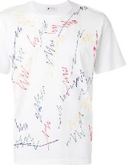 Embroidered Scribble T Shirt Men Cotton S, White