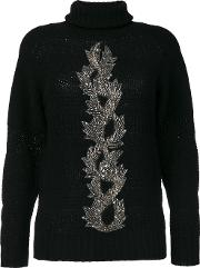 Jo No Fui Embellished Sweater Women Polyamidepolyestercashmereglass L, Black