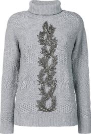 Jo No Fui Embellished Turtle Neck Sweater Women Polyamidepolyestercashmereglass Xs, Grey