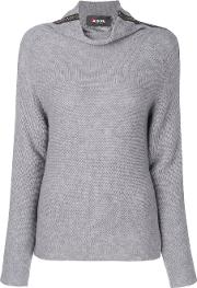 Jo No Fui Roll Neck Stripe Sweater Women Polyestercashmerewool M, Grey