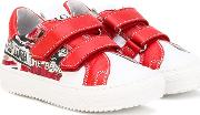 Double Strap Sneakers Kids Leatherrubber 22, Red