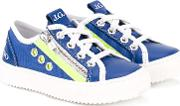 Lace Up Sneakers Kids Leatherrubber 25, Blue