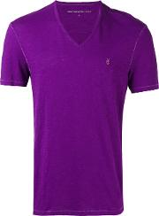 V Neck T Shirt Men Cotton M, Pinkpurple