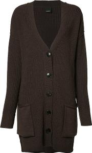 Ribbed Detail Cardigan Women Wool Xs, Women's, Brown
