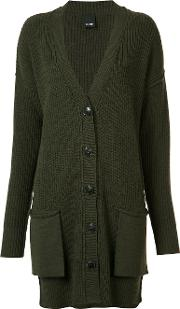Ribbed Trim Cardigan Women Wool Xs, Women's, Green