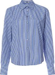 Open Sleeve Gingham Shirt Women Cotton 40, Blue