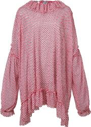 Oversized Ruffle Trim Blouse Women Polyesterpolyimide 38, Red