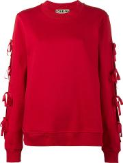 Journe Lace Up Knitted Jumper Women Cotton 42, Women's, Red
