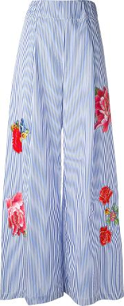 Floral Flared Trousers Women Cotton 38, Blue