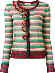 Striped Cardigan Women Cottonpolyestermetallized Polyester M, Blue