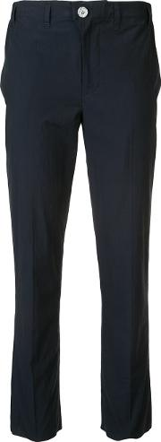 Basic Cropped Trousers Women Cotton S, Blue
