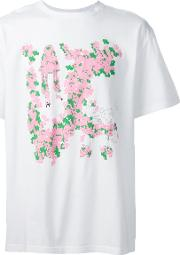 Floral Print T Shirt Men Cotton Xl, White
