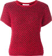 Knitted Shortsleeved Top Women Acrylicwoolalpaca S, Red