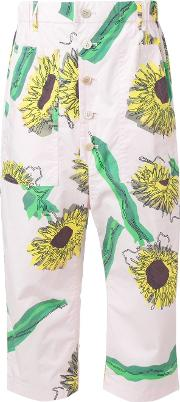 Sunflower Print Cropped Trousers