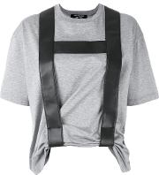 Contrast T Shirt Women Cottonnappa Leather S, Grey
