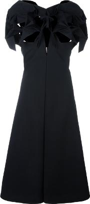 Cut Out Bow Flared Dress Women Polyestercuprowool M, Black