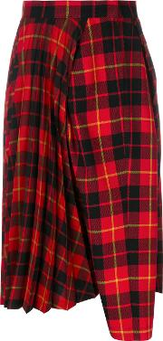 Junya Watanabe Comme Des Garcons Checked Flared Pants Women Polyesterwool M, Red