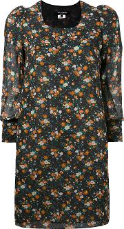 Junya Watanabe Comme Des Garcons Cropped Sleeve Floral Shift Dress Women Polyesterrayon S, Black