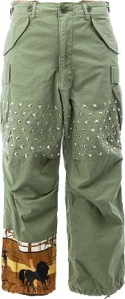 Junya Watanabe Comme Des Garcons Studded Flared Trousers Women Cottonpolyesterpolyurethane S, Green