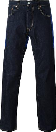 Contrast Panel Straight Leg Jeans Men Cottoncalf Leather L, Blue