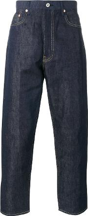 Cropped Jeans Men Cottonlinenflaxwool L, Blue