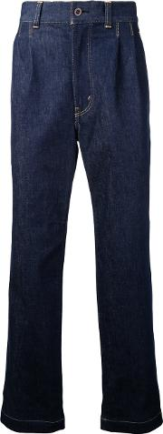 Drop Crotch Cropped Jeans Men Cottonpolyurethane L, Blue