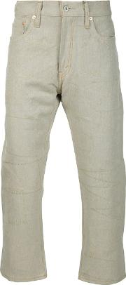 Exposed Seam Trousers Men Linenflaxleather Xl, Nudeneutrals