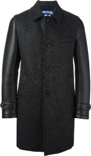 Leather Effect Sleeve Textured Coat Men Nylonwoolartificial Leather L, Black