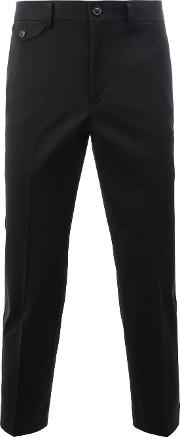 Tailored Cropped Trousers Men Cotton M, Black