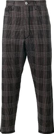 Woven Check Trousers Men Acrylicpolyesterwool L, Black