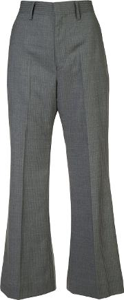 Striped High Waisted Trousers Women Cotton M, Grey