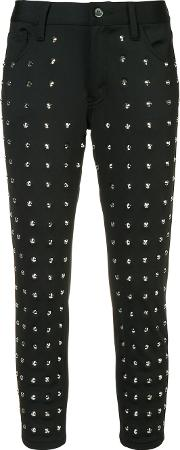 Studded Cropped Trousers Women Polyesterpolyurethane Xs, Women's, Black