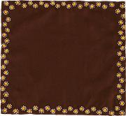 Floral Embroidered Pocket Square Men Silk One Size, Brown