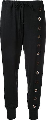 Floral Embroidered Track Pants Women Cottonspandexelastane M, Black