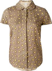Square Embroidered Shirt Women Silk 3, Women's, Brown
