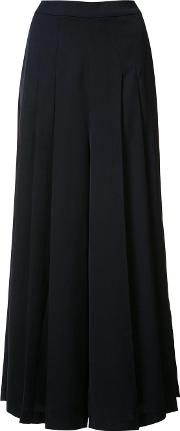 Pleated Palazzo Pants Women Polyester L, Blue