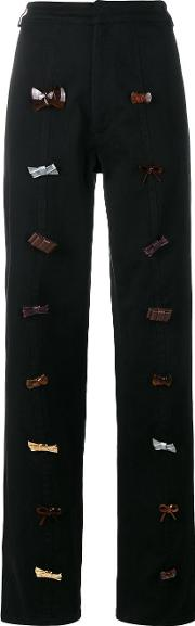 J.w.anderson Bow Embellished Trousers Women Cottonpolyurethane 8, Black