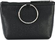 Ring Handle Tote Women Leather One Size, Black
