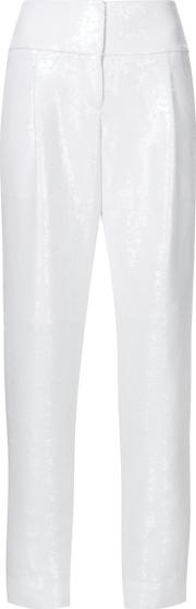 Tapered Trousers Women Silkpolyester 4, Women's, White