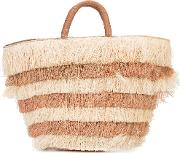Layered Fringed Beach Tote Women Straw One Size, Brown