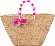Pompom Woven Beach Tote Women Straw One Size, Brown