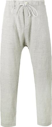 Creased Drop Crotch Trousers Men Cottonlinenflaxcuprowool 2, Grey